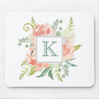Peaches and Cream Watercolor Floral with Monogram Mouse Mat