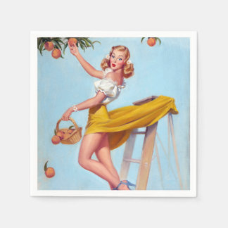 Peaches Pin Up Paper Napkins