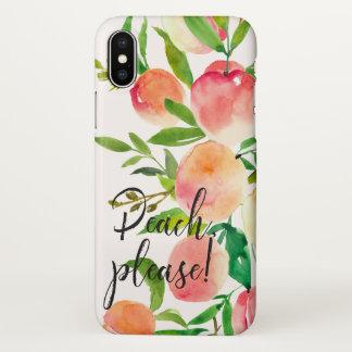 Peaches watercolor illustration iPhone x case