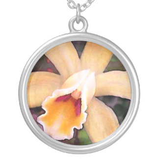 Peachy Cattleya Orchid Silver Plated Necklace