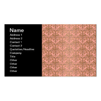 Peachy Coral and Gold Damask Pattern Pack Of Standard Business Cards
