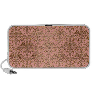 Peachy Coral and Gold Damask Pattern Notebook Speakers