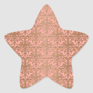 Peachy Coral and Gold Damask Pattern Star Sticker