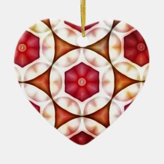 Peachy Cranberry Geometric3500x3500 Ceramic Heart Decoration