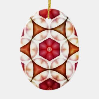 Peachy Cranberry Geometric3500x3500 Ceramic Oval Decoration