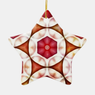 Peachy Cranberry Geometric3500x3500 Ceramic Star Decoration