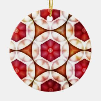 Peachy Cranberry Geometric3500x3500 Round Ceramic Decoration