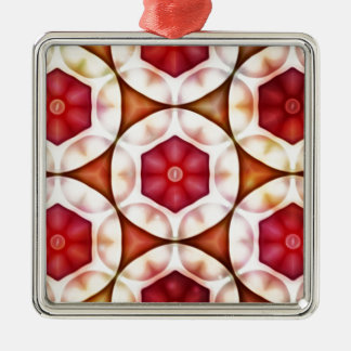 Peachy Cranberry Geometric3500x3500 Silver-Colored Square Decoration