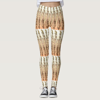 Peachy Feathers Patterned Leggings