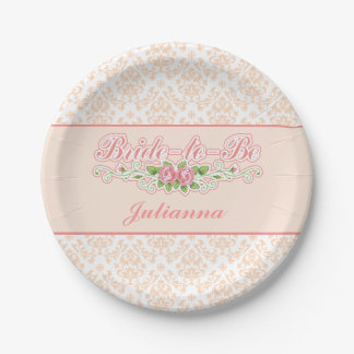 Peachy, Floral, Damask Bridal Shower 7 Inch Paper Plate