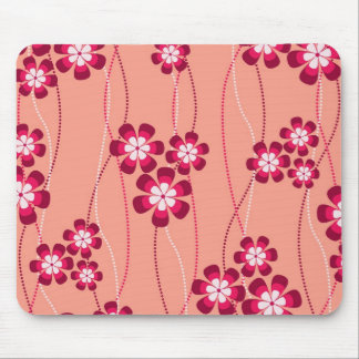Peachy Flower Vines Mouse Pad