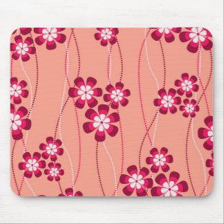 Peachy Flower Vines Mouse Pad