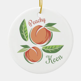 Peachy Keen Round Ceramic Ornament