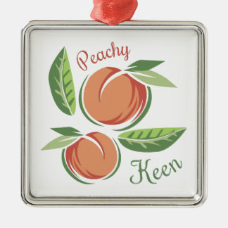 Peachy Keen Silver-Colored Square Ornament