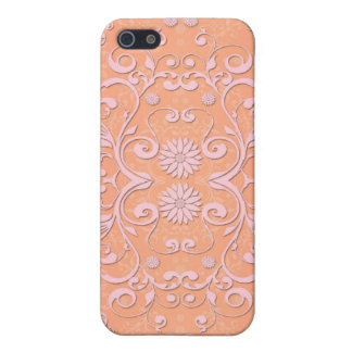 Peachy Orange and Pale Pink Damask Covers For iPhone 5