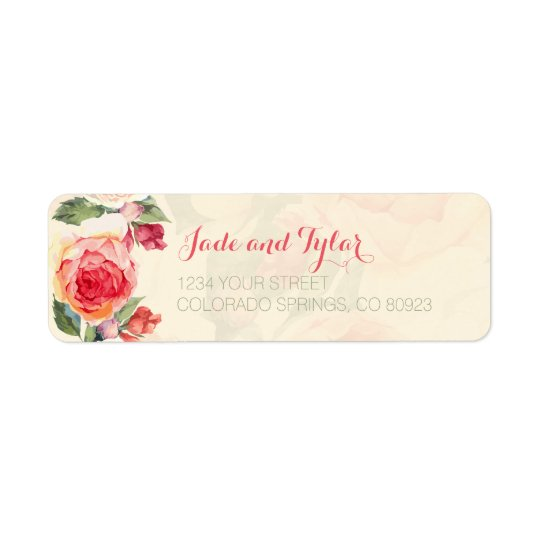 Peachy Peonies, Floral Address Labels