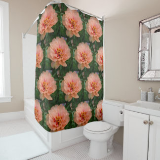 Peachy Pink Floral Shower Curtain