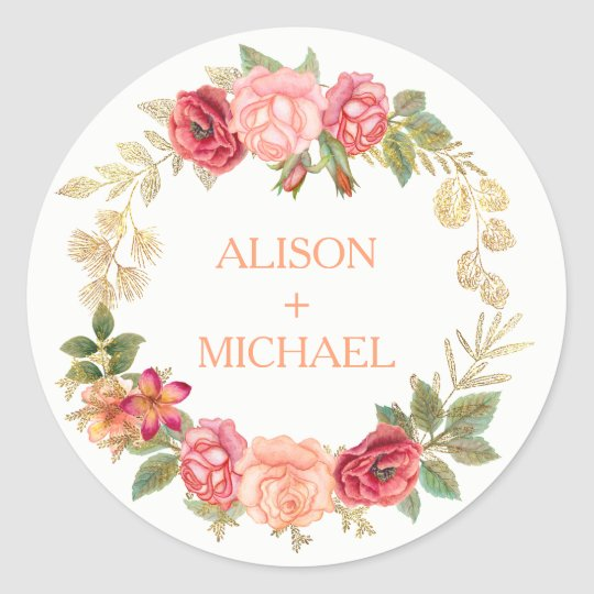 Peachy pink gold roses wreath wedding classic round