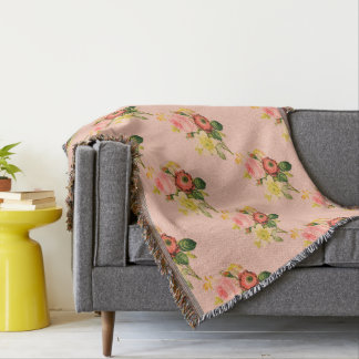 Peachy Pink Posies Throw Blanket