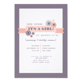 Peachy Pink & Purple Floral  Modern Baby Shower Personalized Invitations