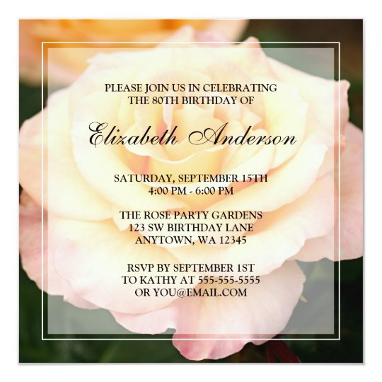 Peachy Pink Rose Flower 80th Birthday Party Card
