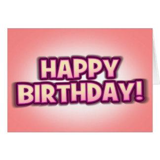 Peachy Pink'n'Purple Happy Birthday Greetings Card