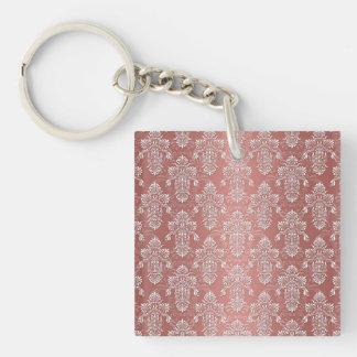 Peachy Salmon Pink Girly Damask Single-Sided Square Acrylic Key Ring