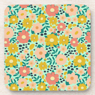 Peachy Summer Floral Patterned Coasters