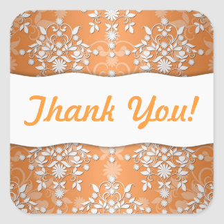 Peachy Tangerine and White Floral Damask Square Sticker