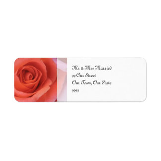 Peachy Wedding Rose Return Address Label