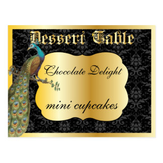 Peackcock Gold Dessert or Candy Buffet Table Sign Postcard