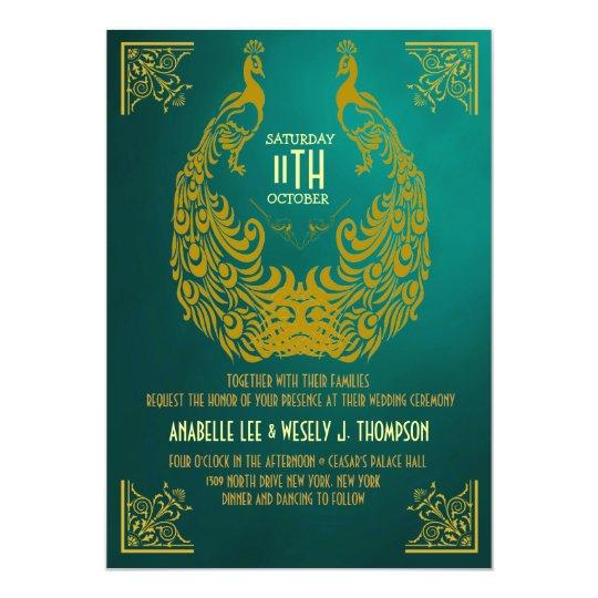 Peacock 1920s Art Deco Wedding Invitation