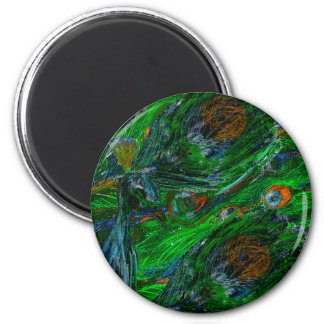 Peacock. 6 Cm Round Magnet