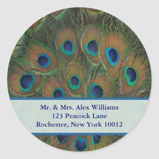 Peacock Address or Save the Date Label Round