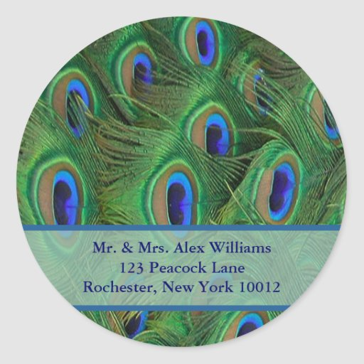 Peacock Address or Save the Date Label Sticker