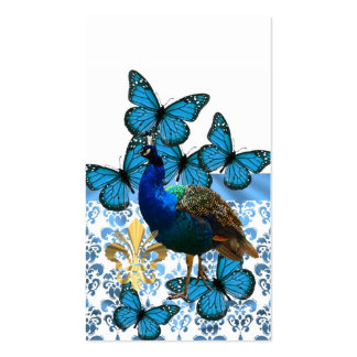 Peacock and blue butterflies business card