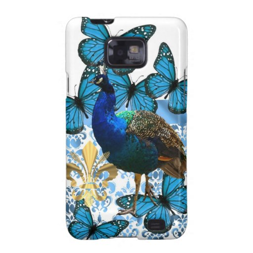 Peacock and blue butterflies samsung galaxy s2 covers