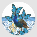 Peacock and blue butterflies round sticker
