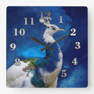 Peacock and Blue Sky Square Wall Clock