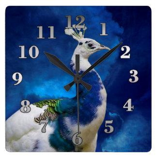 Peacock and Blue Sky Wallclock