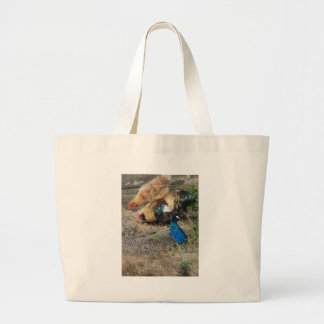 Peacock and Chickens Tote Bags