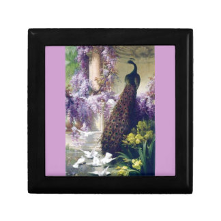 Peacock and Doves Small Square Gift Box