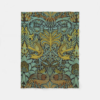 Peacock and Dragon William Morris Tapestry Design Fleece Blanket