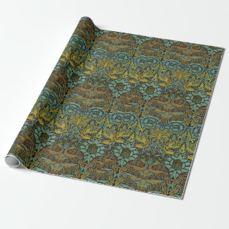 Peacock and Dragon William Morris Tapestry Design Wrapping Paper