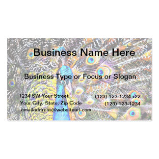 peacock and feathers artistic graphic business card