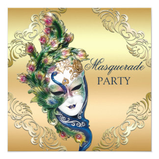 Peacock and Feathers Mask Gold Masquerade Party 13 Cm X 13 Cm Square Invitation Card