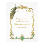 Peacock and French Baroque Golden Frame Stationery 21.5 Cm X 28 Cm Flyer