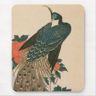Peacock and Peonies by Hiroshige, Japanese Art Mouse Mat