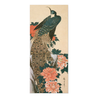 Peacock and Peonies by Hiroshige, Save the Date 10 Cm X 24 Cm Invitation Card