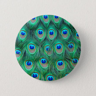peacock animal print - feathers 6 cm round badge
